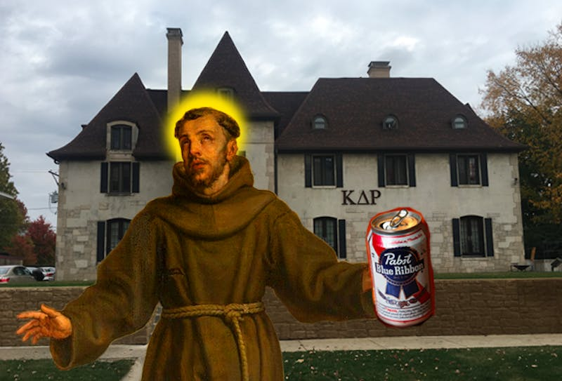 Mother Mary! St. Francis of Assisi Looks Confused at Friars Smoker