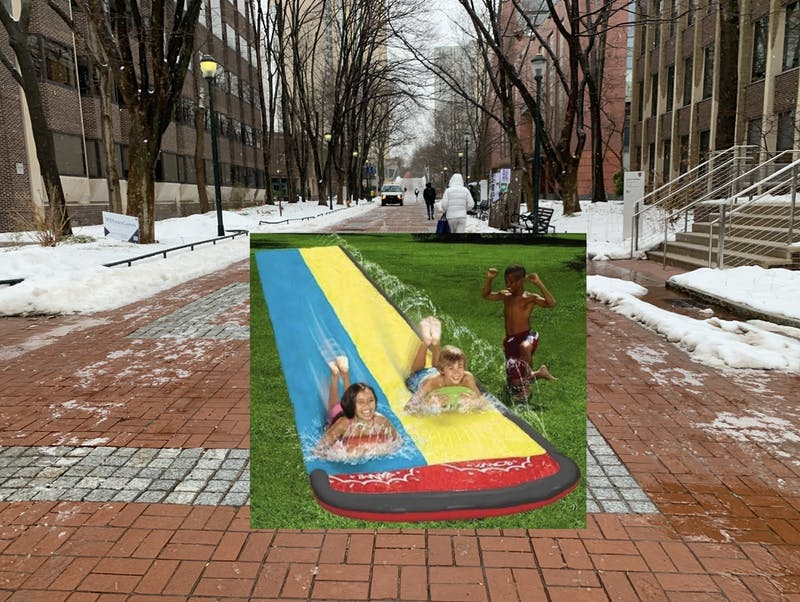 After Complaints Over Lack of Fun In-Person Activities, Penn Introduces Locust Walk Slip N' Slide