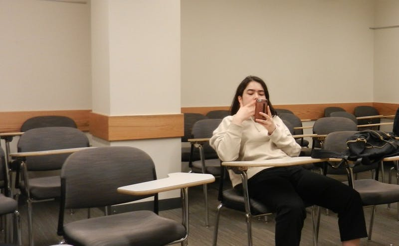 Girl Scrolling on Phone in Bedroom Forced to Get Up, Go to Class, Scroll on Phone in Lecture