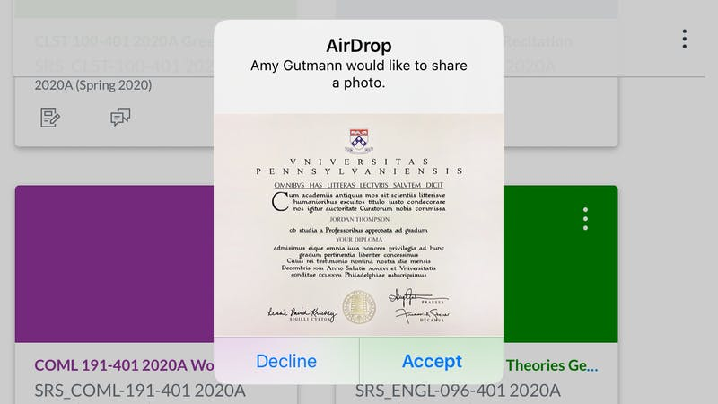 BREAKING: Amy Gutmann to AirDrop Diplomas to Graduating Seniors