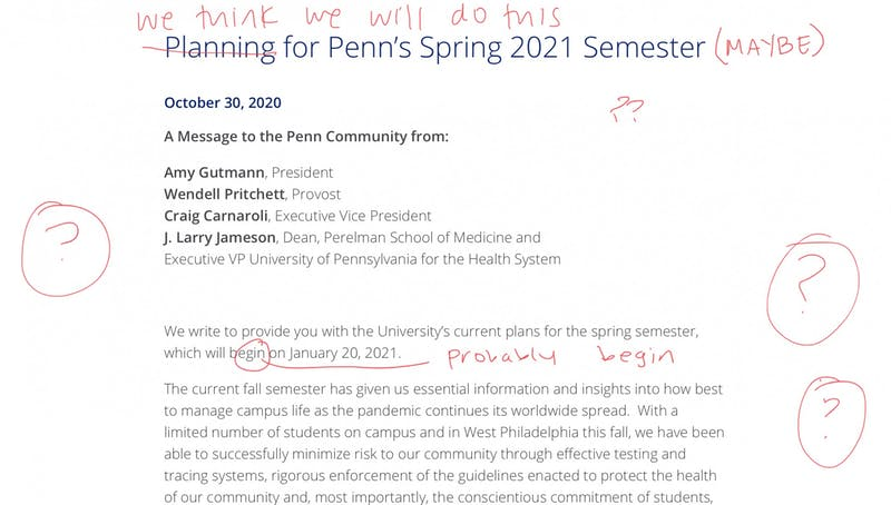 BREAKING: Penn Makes Firm, Decisive Spring Plan That Will Definitely Not Change