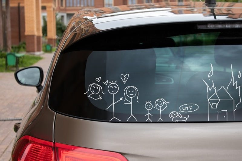 How to Convey That You Are Divorced, Remarried, Both With Children of Your Own, and Sometimes Still See Your Ex on the Side All Through Windshield Stick Figure Stickers