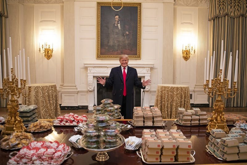 Donald Trump Serves Fast Food at White House, Hoping to Recruit a Big New Pledge Class