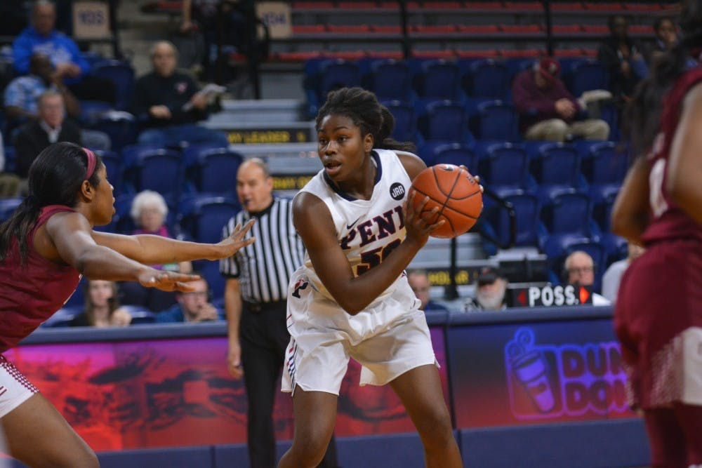 Sophomore Princess Aghayere led the Quakers with 33 points this weekend, including a career high 21 against Columbia.