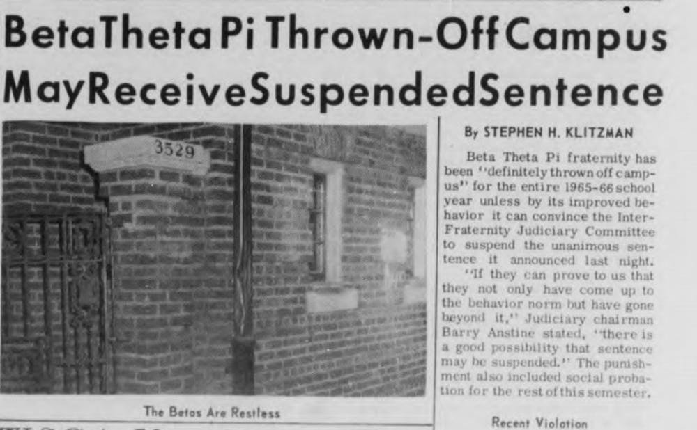 Beta attempted to convince the Inter-Fraternity Judiciary Committee to suspend its sentence for the fraternity's misconduct in 1965.