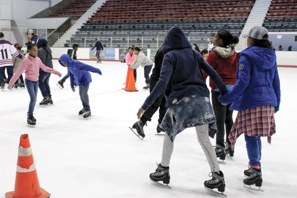 The Philadelphia Police Athletic League hosted its annual ice-skating event; kids from around Philadelphia skated alongside police officers and the Penn Figure Skating Club.