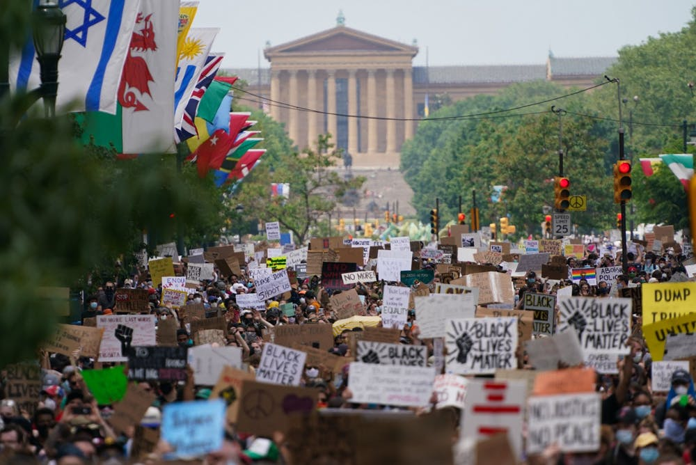 crowd-of-demonstrators-museum-of-art-to-city-hall-philadephia-george-floyd-protests-eighth-day