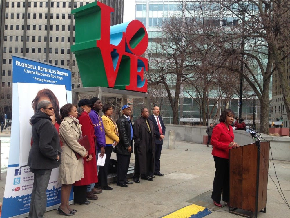 City Councilwoman Blondell Reynolds Brown discussed the University of Oklahoma incident at a rally in Love Park on Monday.