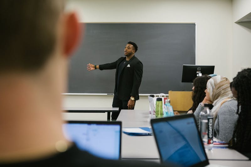 3-18-2019 Penn Alumni Brandon Copeland teaching (Photo from Brandon Copeland)