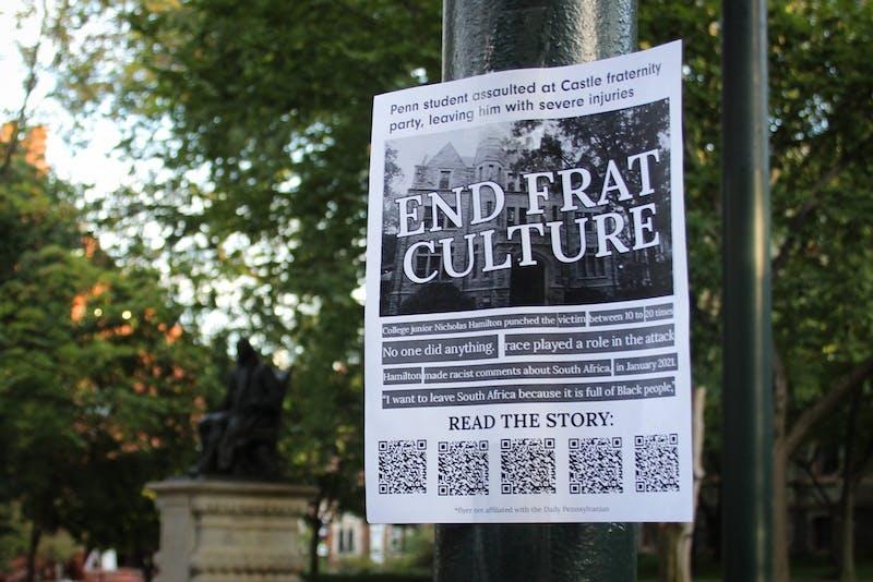 Students hang 300 flyers on Penn's campus demanding end to 'frat culture' after Castle assault