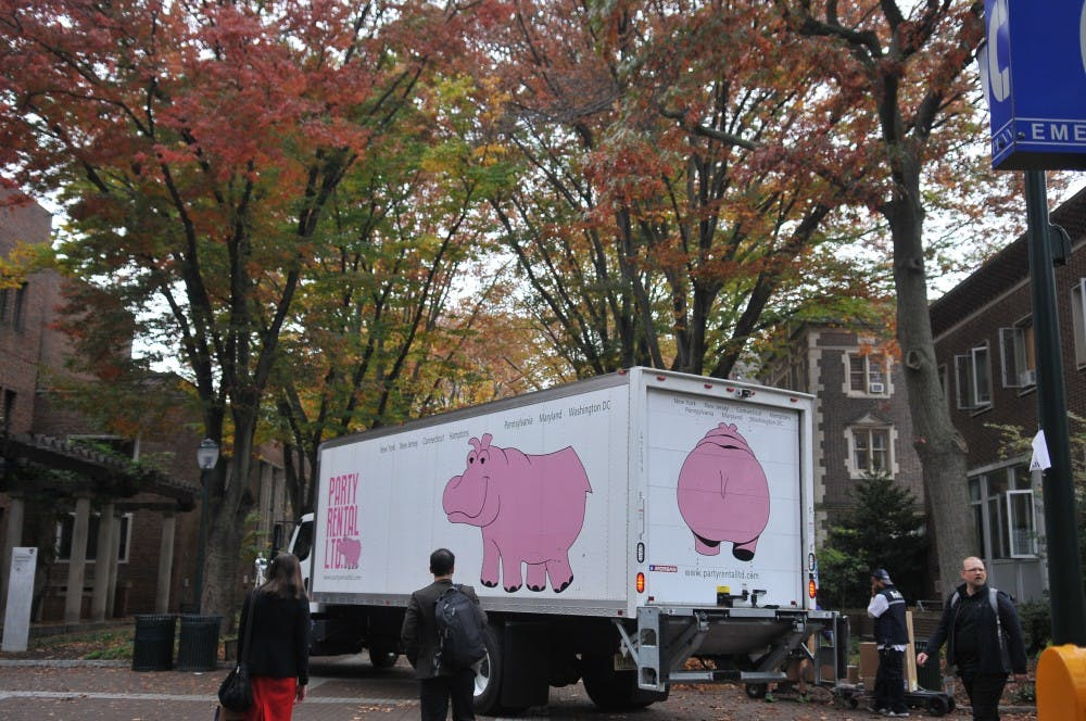 The trucks of Party Rental Ltd, bearing their iconic pink hippo design, were spotted on Locust Walk this week.