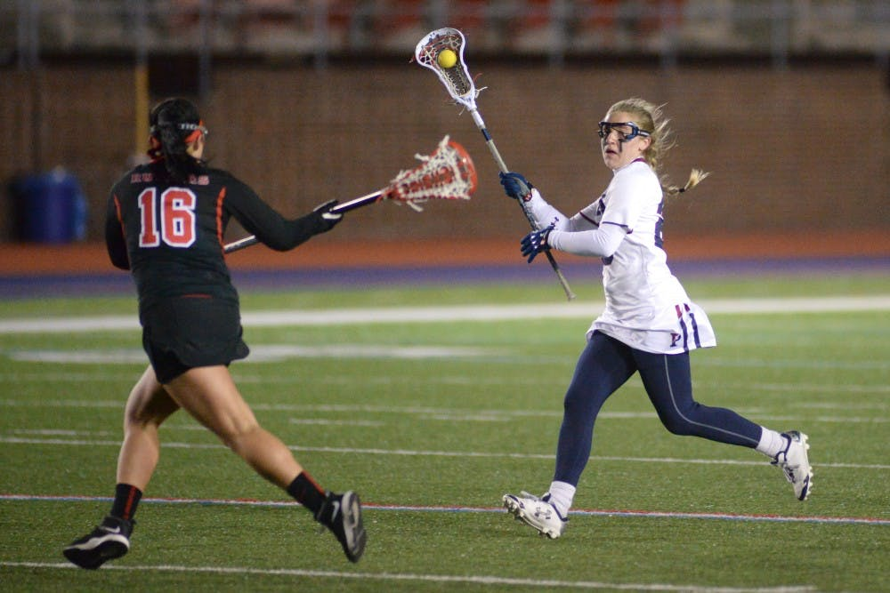 Senior attacker Emily Rodgers-Healion came up big with seven total points for the Quakers in their double-digit victory over the Blue Devils.