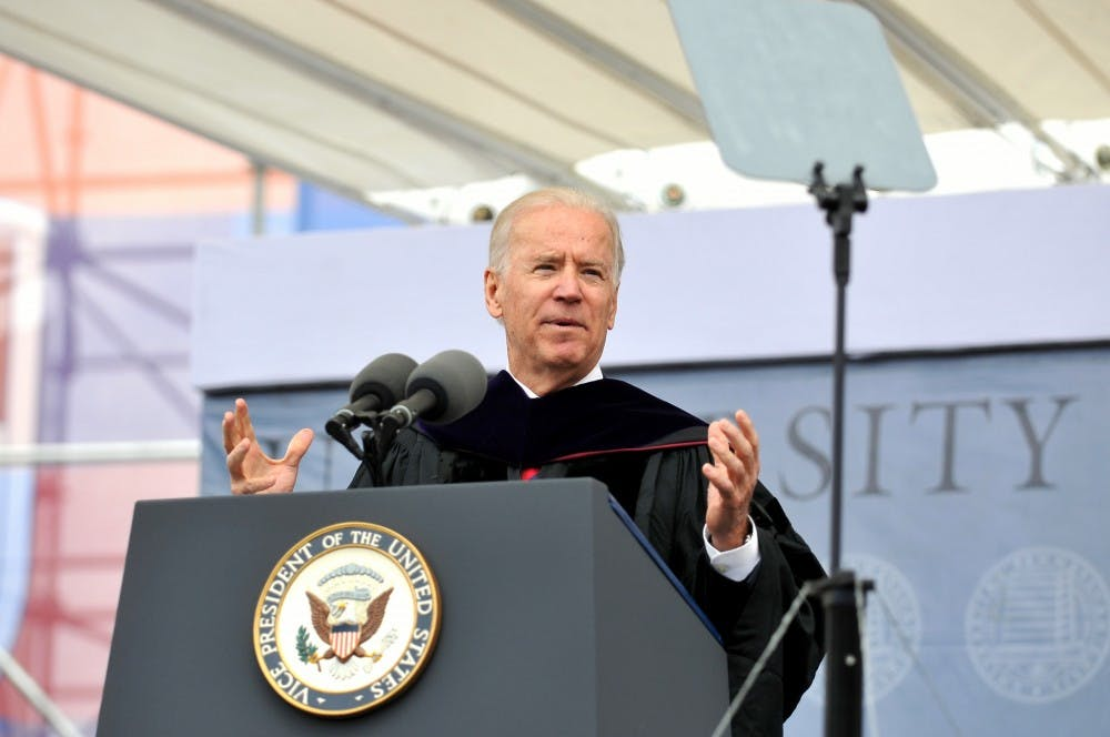 "Vice President Joe Biden delivered the University's 257th Commencement address on Monday, telling the Class of 2013 that they have the chance to ""bend history"" and ""challenge orthodoxy"" as the world's future leaders."