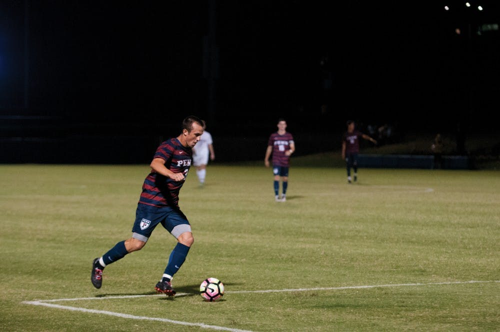 Penn men's soccer is trying to move beyond a troublesome 2015. One example of such progress is junior fullback Sam Wancowicz — who spent half of last season injured, but scored a screamer on Friday night against American University to open the Quakers' scoring for the season.