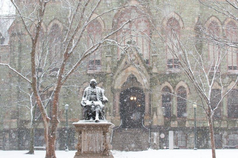 Snow blankets Penn's campus
