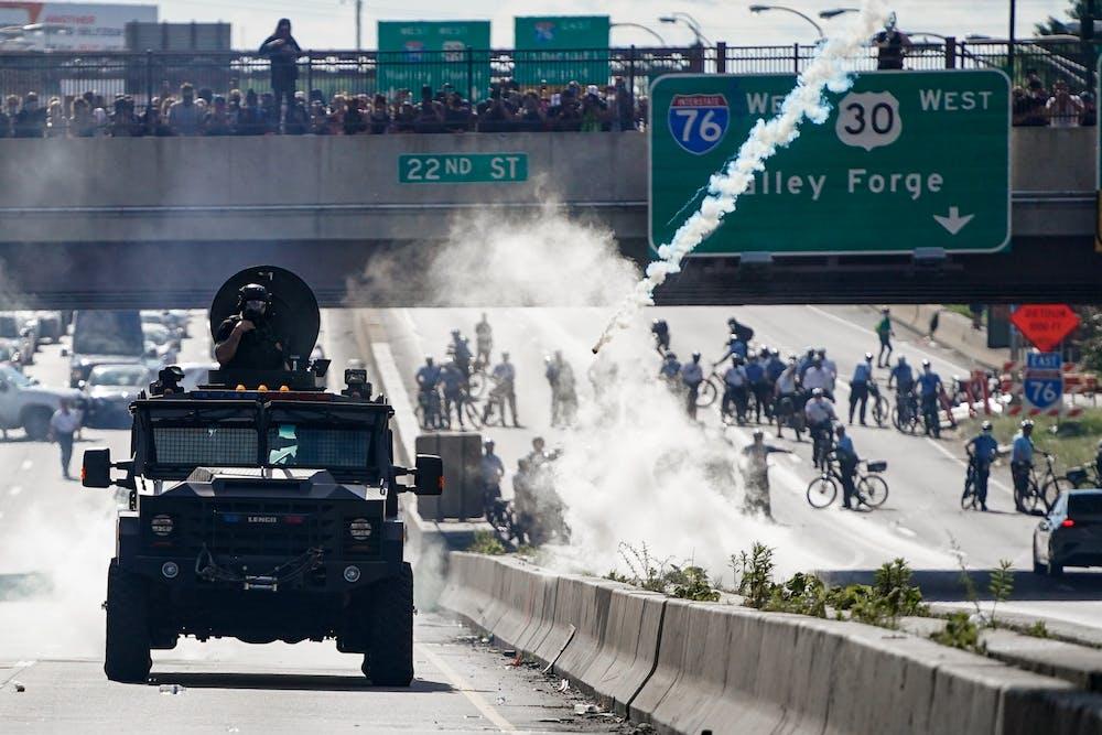 philadelphia-george-floyd-protests-swat-team-tank-tear-gas-highway-i676