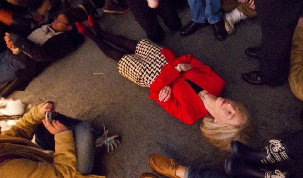 President Amy Gutmann lays down for a