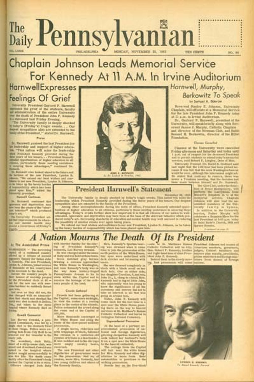 The front page of the first Daily Pennsylvanian after Kennedy's death was devoted entirely to the former president.