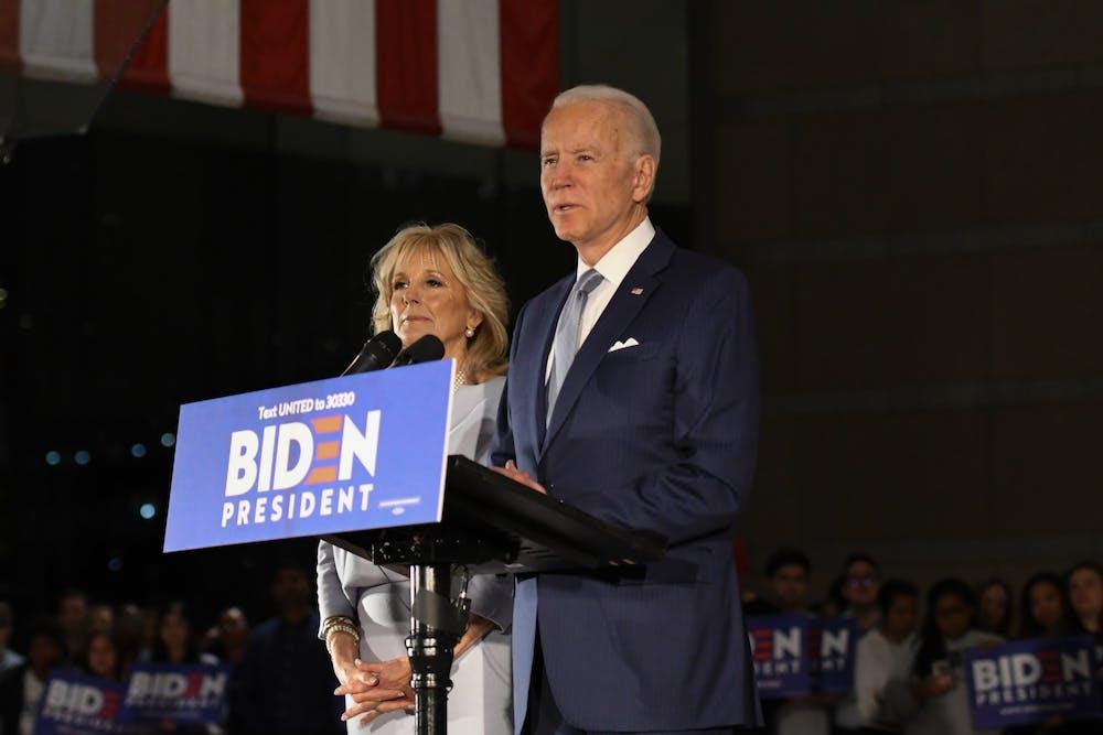 joe-biden-jill-biden-podium-march-town-hall-2020-elections-vote
