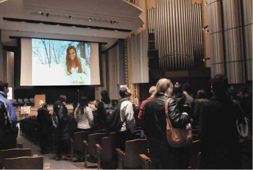 Family and friends gathered in Irvine Auditorium on Sunday night to remember Madison Holleran.