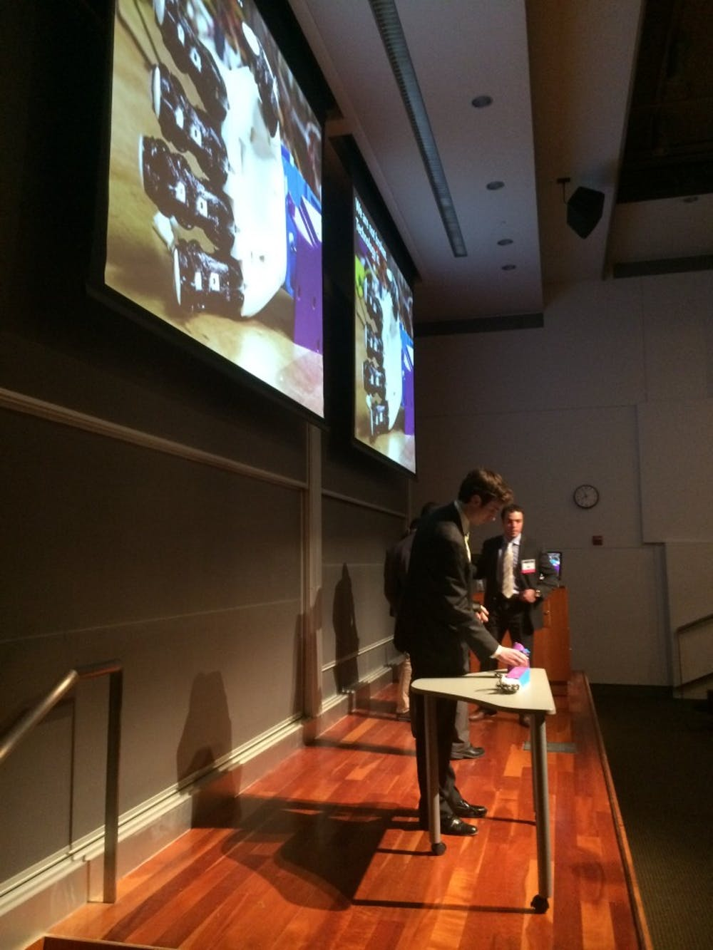 <p>Team members from BionUX, a new model for a prosthetic arm, answered audience questions after their presentation. </p>