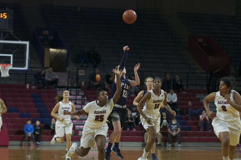 Junior Kasey Chambers nailed a buzzer beater from midcourt to close out the third quarter for Penn women's basketball as the Quakers took down Harvard, 62-46, on Senior Night.