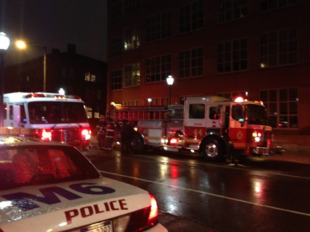 Firetrucks respond to a Hazmat incident at Vagelos Labs this morning.