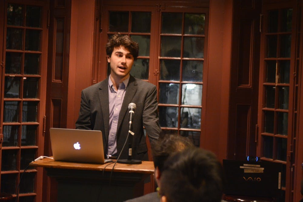 College sophomore Nico Corrino, who pioneered the mobile app Soundcheck, spoke at the Kelly Writer's House on Tuesday.
