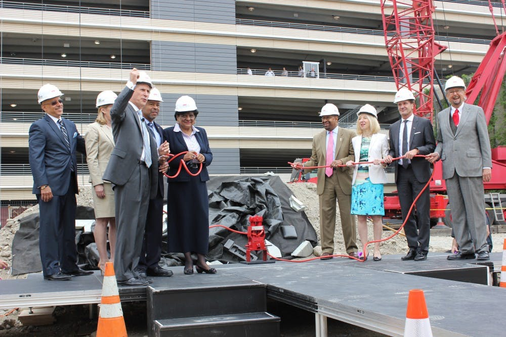 Penn President Amy Gutmann, Philadelphia Mayor Michael Nutter, Brandywine Realty Trust President and CEO Jerry Sweeney and other key stakeholders broke ground on the new FMC Building on Wednesday.