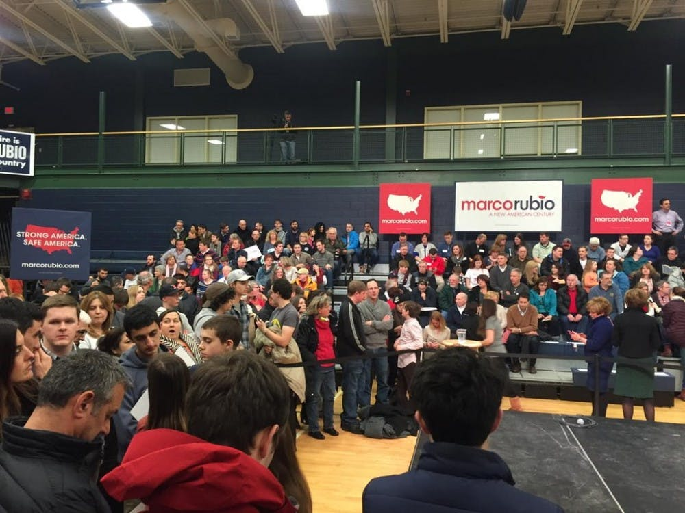 Marco Rubio supporters congregate in the Nashua Community College gymnasium as they wait for the Republican presidential candidate's visit. (Luis Ferre Sadurni | Politics Beat Reporter)