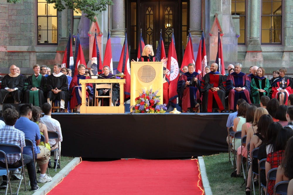 Convocation speeches by President Amy Gutmann (above) and other administrators discussed mental health as a key campus issue.