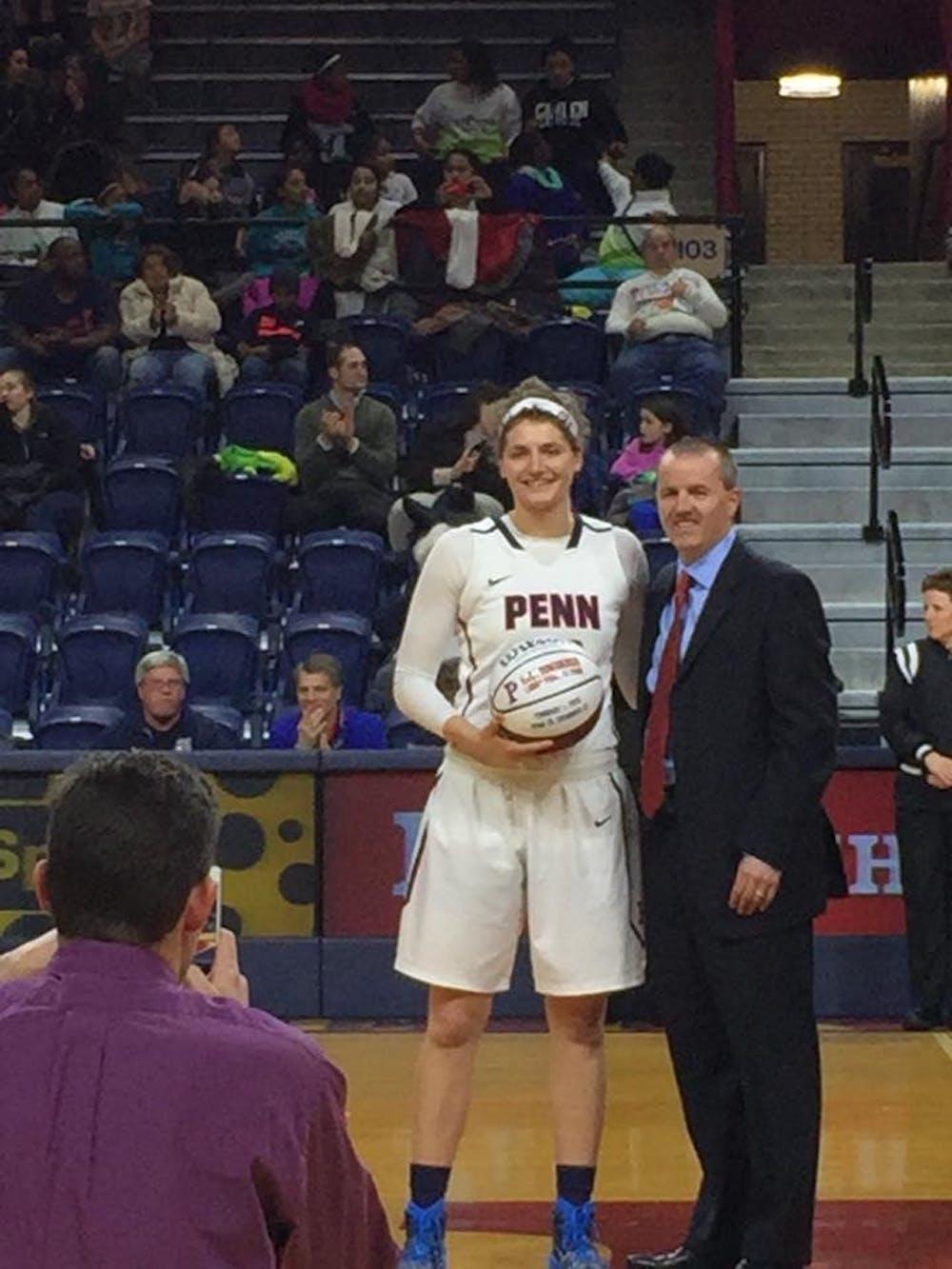 Senior forward Kara Bonenberger was honored before the game for her 1000-point career.