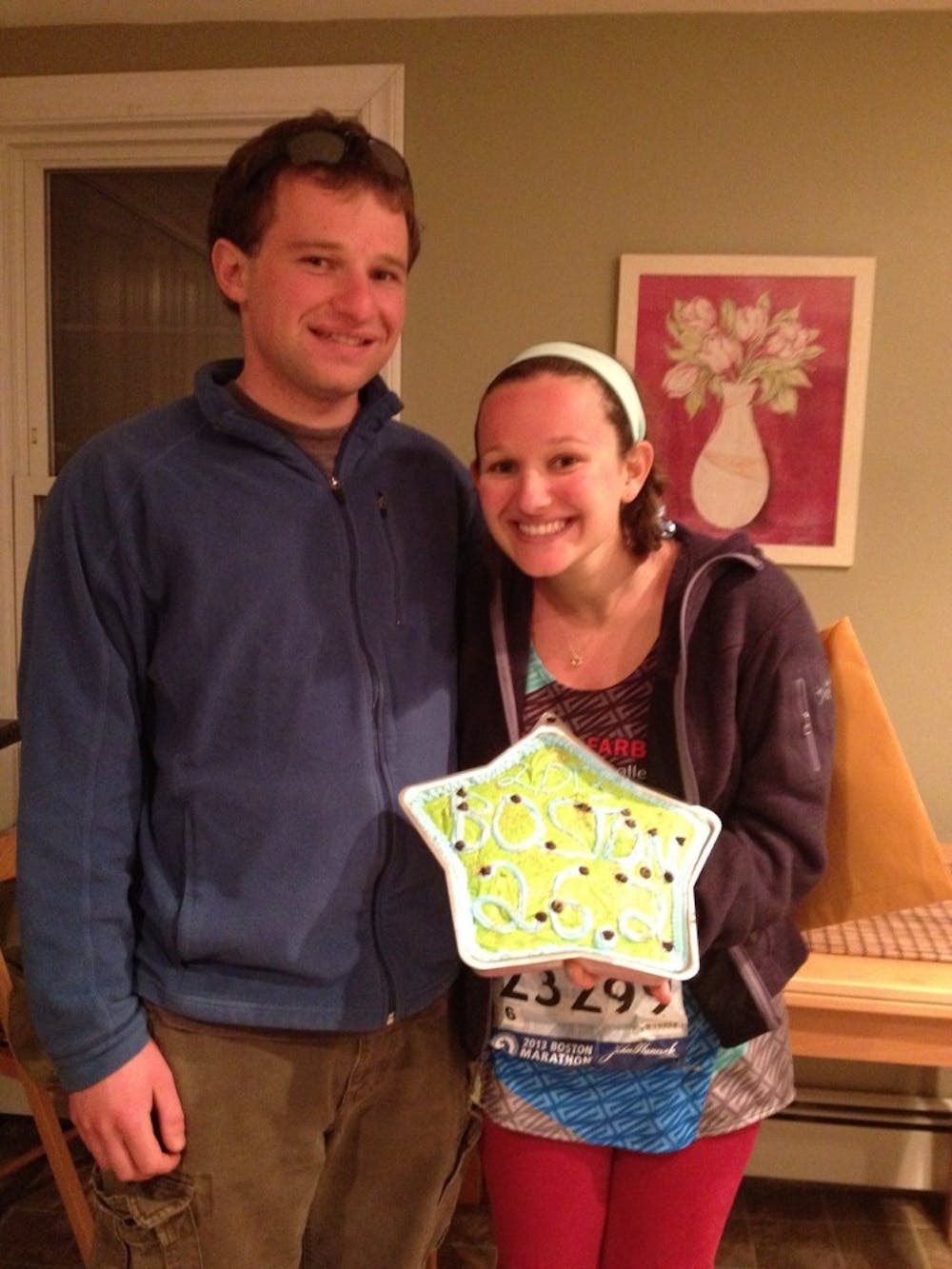 Siblings Chase and Erica Denhoff celebrated at Erica's house in Brookline, Mass. after being reunited amidst the chaos in Boston on Monday.