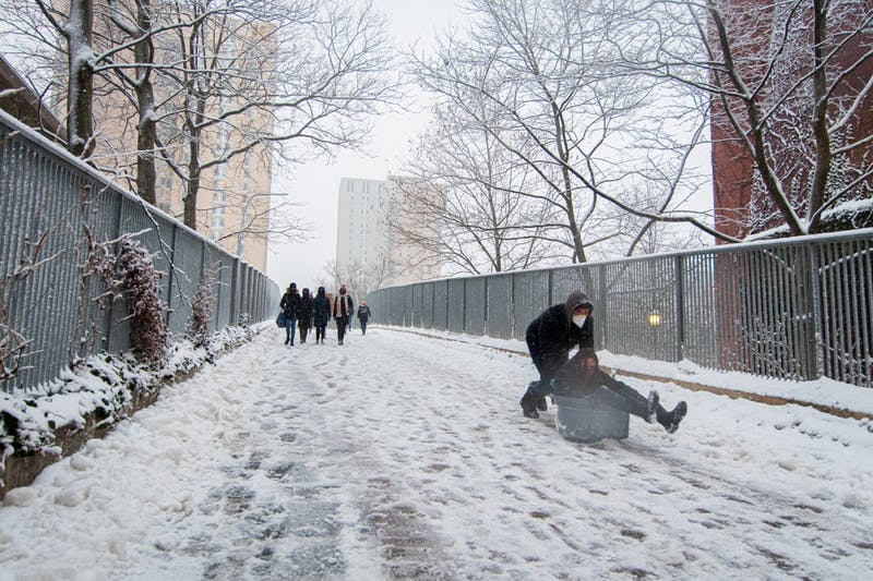 In Photos: Students let loose, sledding on Locust and sculpting snowmen as Orlena hits Penn