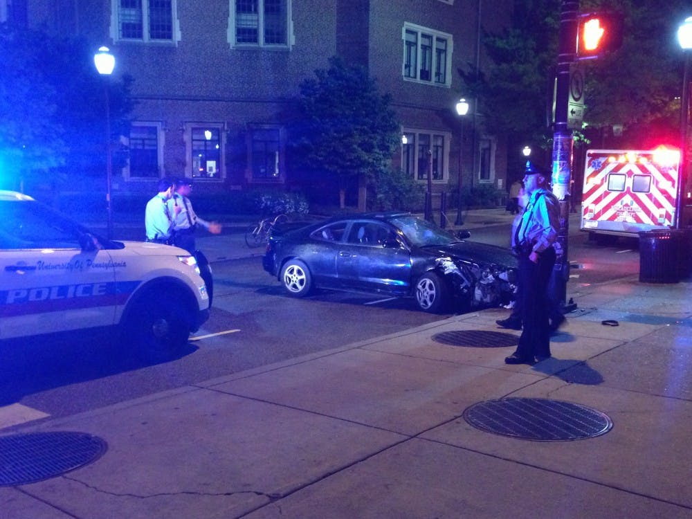 A car crash occurred Wednesday night at 34th and Walnut streets.