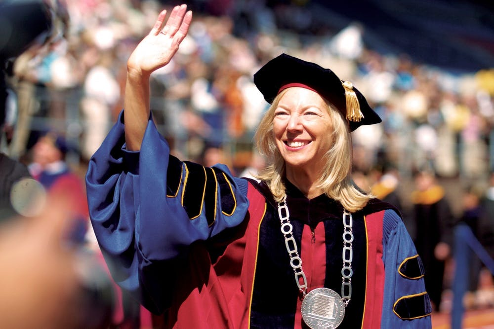 05-14-07-amy-gutmann-wave-to-crowd-commencement-2007