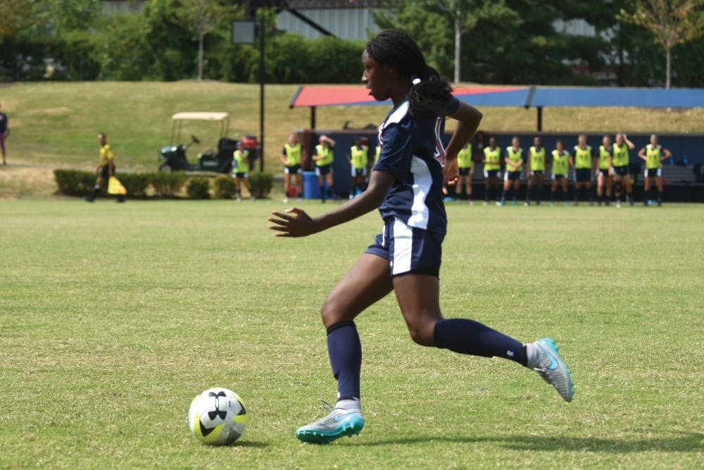 In her first game playing for the Red and Blue, freshman forward Sasha Stephens netted two of the team's three goals.