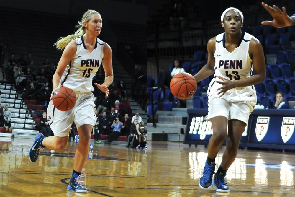 Junior Syndey Stipanovich (left) and sophomore Michelle Nwokedi (right) followed similar paths at Penn, coming off the bench during the beginning of their respective freshman years and ending the season with rookie honors.