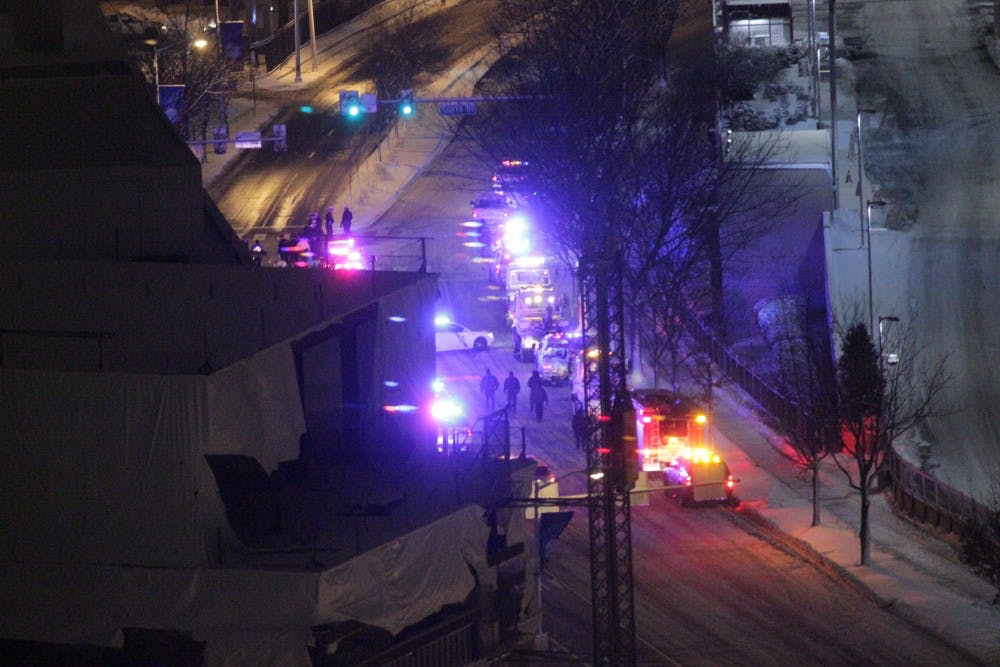 A police procession for fallen Philadelphia PoliceOfficerRobert Wilson III passed by campus Thursday night.