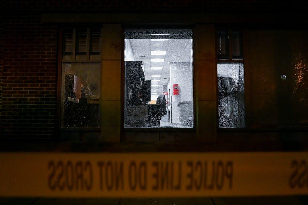 penn-dental-medicine-broken-window-glass-police-line-do-not-cross-tape-vandalism