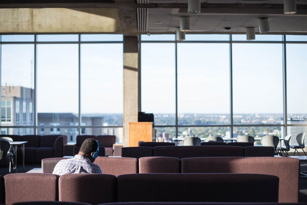 Students study in the Harrison Rooftop Lounge in preparation for the first round of midterms.