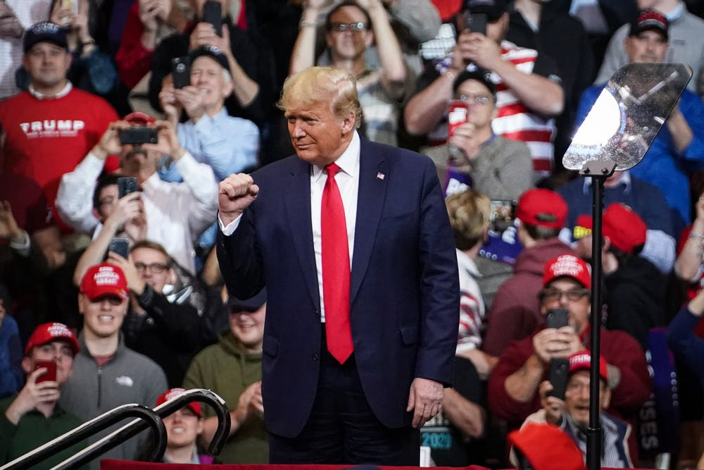president-donald-trump-new-hampshire-rally-february-10-2020-fist-pump