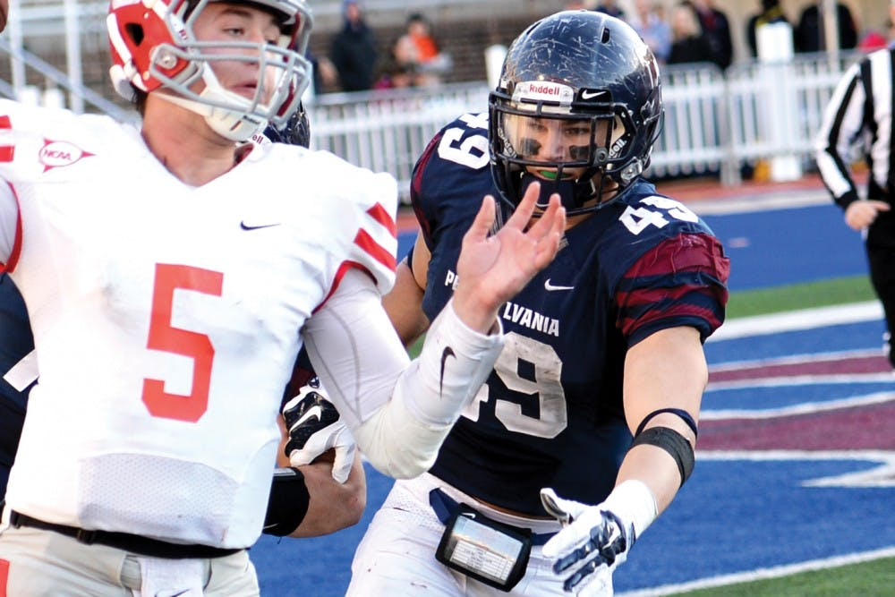 Senior linebacker Tyler Drake was a force to be reckoned with for Penn's defense. The senior finished the season leading the Ivy League in sacks (8.5), tackles for a loss (12.5) and forced fumbles (4).