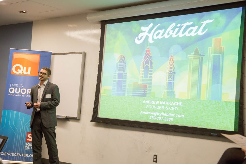 Student entrepreneurs gathered in Philadelphia on Feb. 24 to pitch and present their innovative solutions to various challenges. Andrew Nakkache won first place with Habitat. | Courtesy of Michelle Freeman