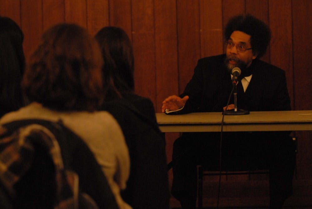 Cornel West, a philosopher and academic from Princeton University, speaks with Penn professor Christopher Phillips and a small audience of students in the Amado Recital Hall at Irvine Auditorium.