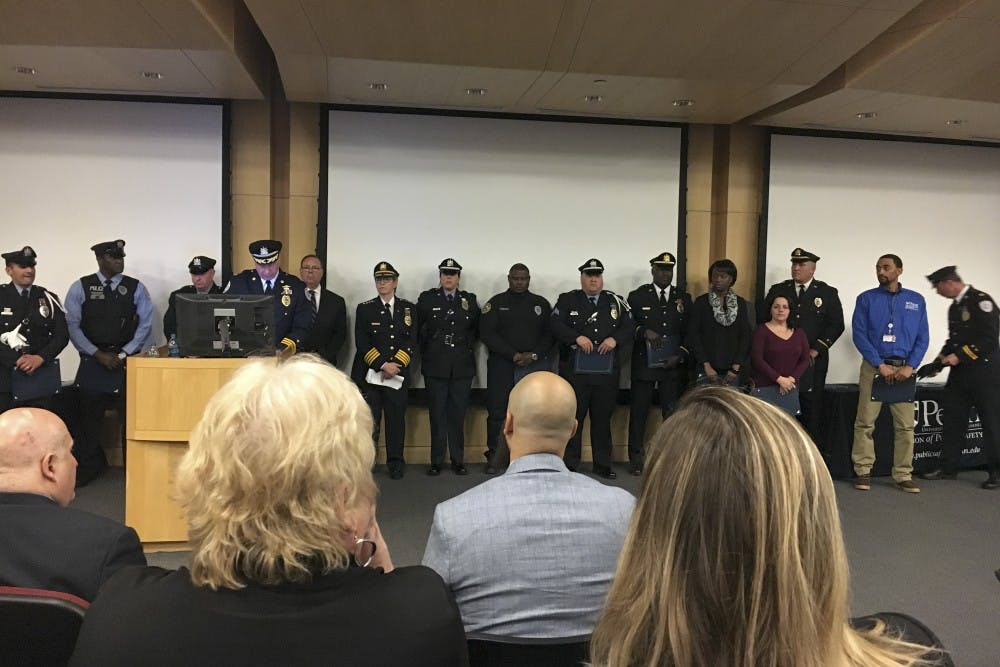 Among the many who were honored at the commendation were the individuals who helped the day a man entered Van Pelt Library with a machete.
