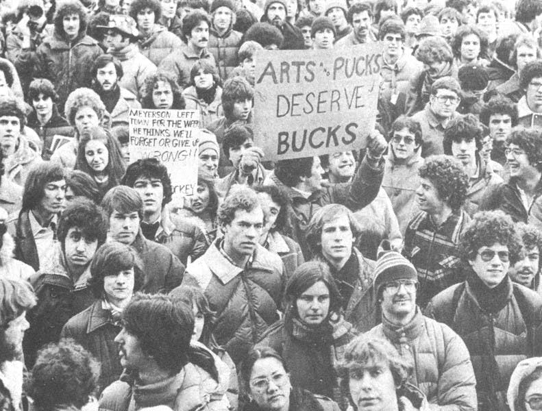 After learning that Penn's varsity ice hockey program would be shut down, outraged students camped out and slept in College Hall, protesting the University's decision. By cutting hockey, the University saved around $75,000.