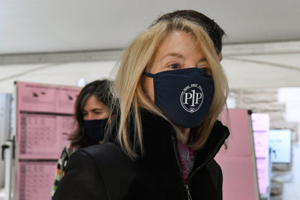 amy-gutmann-penn-first-plus-coronavirus-mask-election-day