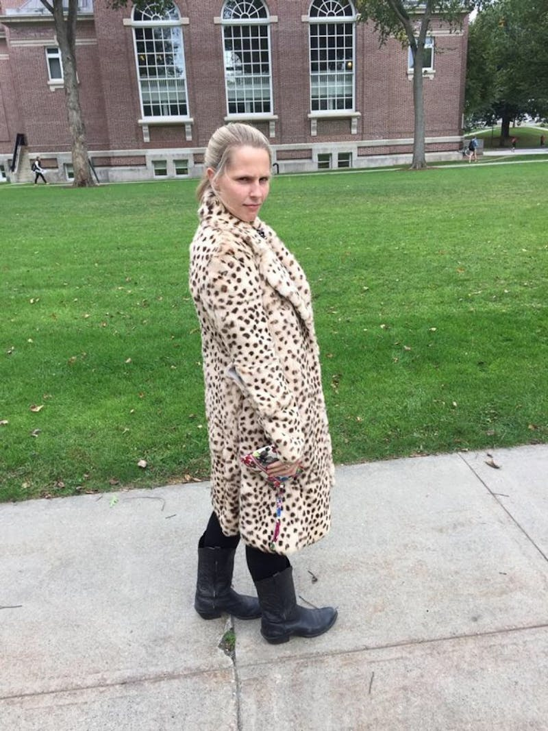 Mary Liza Hartong '16 rocks a knee length cheetah print jacket #swug.