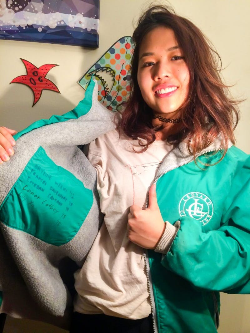 Lily Xu '18's favorite bequest is a vintage Ledyard Canoe Club jacket from the '90s handed to her by Conor Cathey '15.